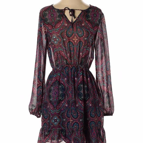 Small Boho Paisley Long Sleeve Festival Dress
